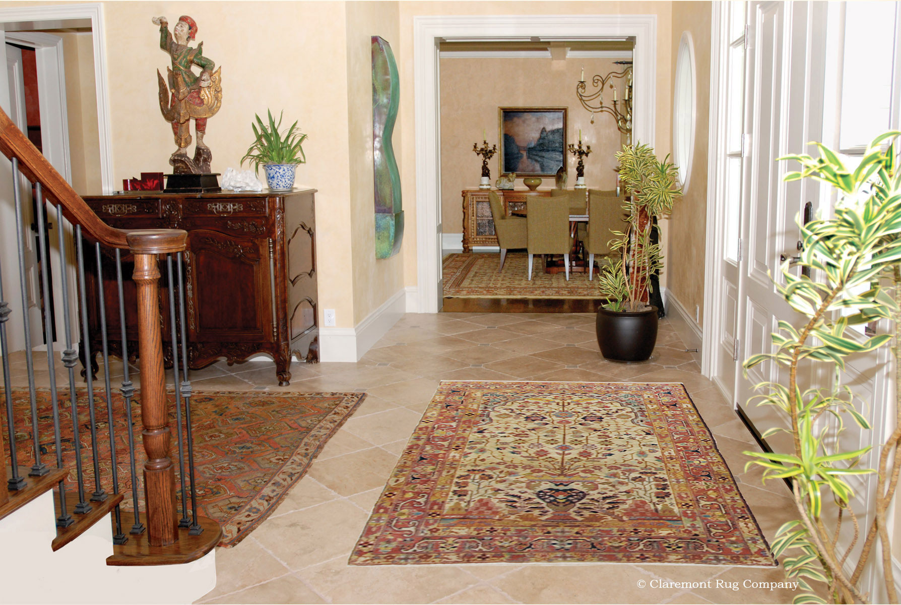 Foyer Rug Sets : Serpai antique carpet and bakshaish rug in entryway