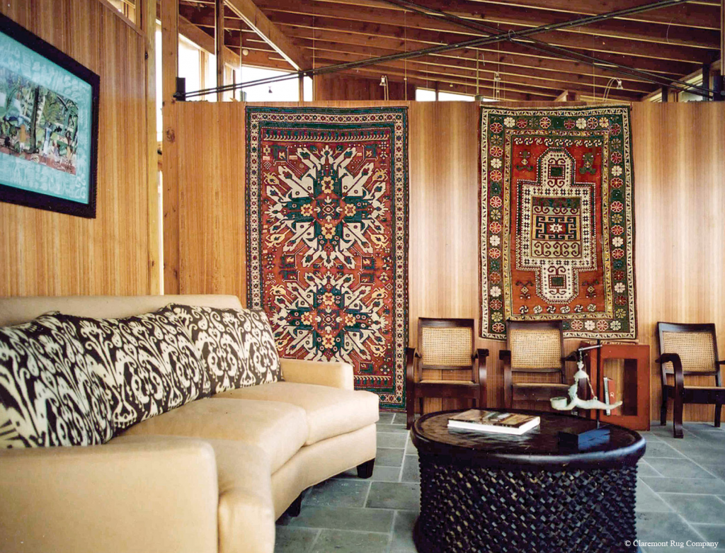 2 Caucasian Kazak rug on the wall
