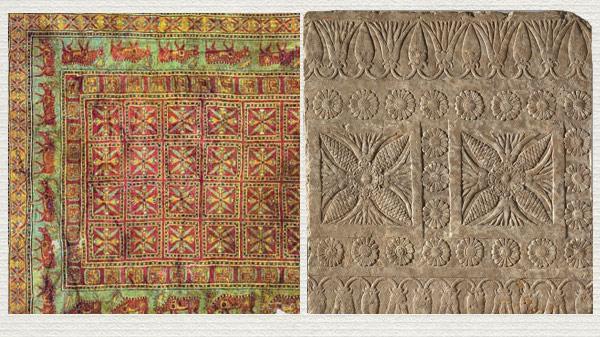 Detail from Caucasian Seichur Kuba rug, circa 1875.