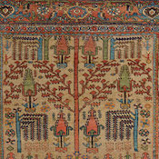 Antique Persian Bijar Camelhair Rug 4-11x6-8